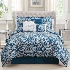 ''Fantasy'' 7-pc. Comforter Set (Blue) ($105) ❤ liked on Polyvore featuring home, bed & bath, bedding, comforters, blue, king shams, blue comforter sets, blue king size comforter, king comforter and king comforter set