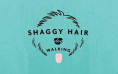 Shaggy Hair Dog Walking Logo