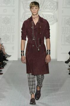 Daks Menswear S/S 17. Maroon Suede Trench Coat and Grey Tartan Trousers