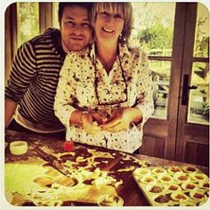 Left, Jamie and his mum making the best mince pies ever; and right, our festive hearth