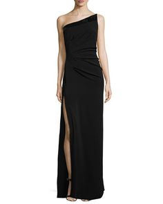 One-Shoulder+Side-Slit+Evening+Gown,+Black+by+Halston+Heritage+at+Neiman+Marcus.