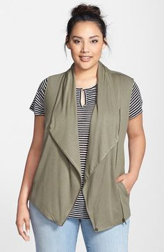 Caslon® Drape Front Knit Vest (Plus Size) available at #Nordstrom
