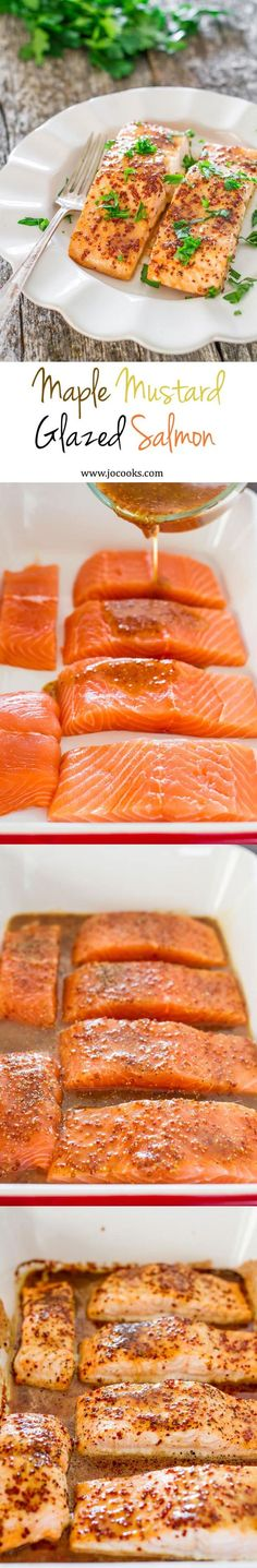 Maple Mustard Glazed Salmon - 4 ingredients turn this salmon into a super star. A healthy and delicious salmon, glazed with pure maple syrup from Canada and grainy mustard.