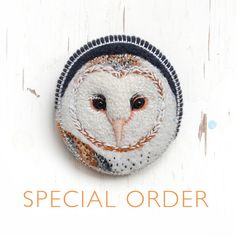 beautiful owl embroidery (brooch) by cOnieco on Etsy