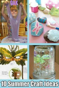 10 summer craft ideas http://diycozyhome.com/10-super-fun-summer-break-crafts-for-kids/