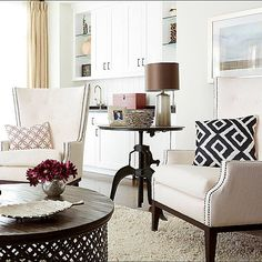 Love this HomeGoods round coffee table!