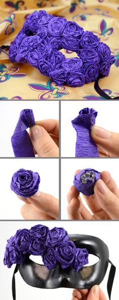 How to make your own mask with crepe paper flowers