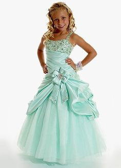 Blue A-line Spaghetti Taffeta Floor Length Flower Girl Dress  US$ 58.99