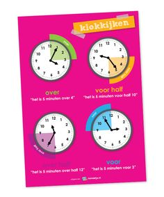 Calculation posters from Lesmaatje are clearer through clear illustrations and fresh designs. Classroom Setting, Math Classroom, Learn Dutch, Little King, Metric System, Kids Education, Time Management, Clock, The Unit