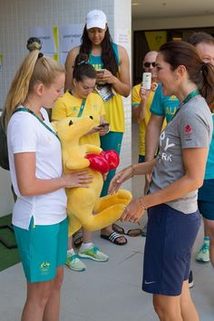 A special visit to the Hub in our Australian Team building in the Athletes' Village from Crown Prince Frederik and Crown Princess Mary of Denmark!  Synchronised swimmer Amie Thompson presented a boxing kangaroo to the couple, she even managed to speak Danish to the pair!