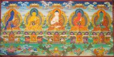 The five Buddhas Akshobya, Ratnasambhava, Vairocana, Amitabha, and Amogassidhi. (from left to right)