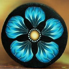 Blue Polymer Clay Flower Cane by ikandiclay on Etsy