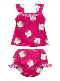 i play. Baby-Girls Infant Mod Ultimate Swim Diaper 2 Piece Tankini Set, Fuchsia, Small/6 Months
