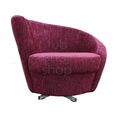Tub Chairs : Spiral Tub Chair In Plain Plum Chenille Fabric With Swivel Base