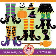 Halloween Cute Witches and Witch Feet digital by Cherryclipart