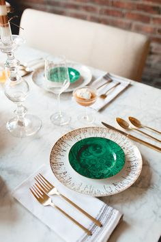 malachite + marble + gold // tabletop