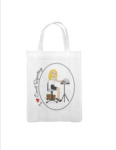 Court Reporter - Reusable Grocery Bag - I Love Court Reporting - Personalized, Blonde, Brunette, Black Hair, Auburn, African American