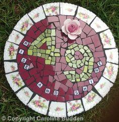 Mosaic house number roses - Mosaic tiles, vintage crockery: