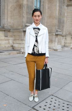 Inspiration for rust pants + white jacket