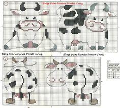 Cross Stitch Baby, Cross Stitch Charts, Cross Stitch Embroidery, Cross Stitch Patterns, Crochet Patterns, Cow Craft, Everything Cross Stitch, Especie Animal, Filet Crochet