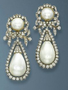 Diamond and pearl drop into earrings from 1840's   G;)