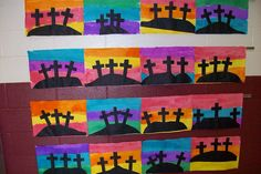christian easter art and craft ideas Easter Cross, Easter Art, Easter Crafts For Kids, Easter Jesus Crafts, Jesus Easter, Easter Ideas, Easter Eggs, Kindergarten Art, Preschool Crafts