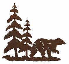 "8"" Bear and Pine Trees Metal Wall Art"
