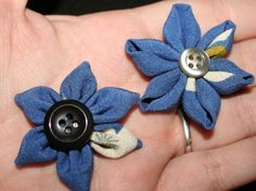 How to make semi-kanzashi style fabric flowers (part 2)