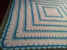 Larksfoot Granny in Sea Blues by stells10, via Flickr - wish I could find a pattern for this one. @Vivica Flynn this would be a beautiful first granny afghan to make!