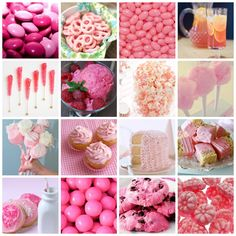 PINK TREATS: m ms // pretzels // jelly belly // pink lemonade // rock candy // sherbet // popcorn cotton candy // marshmallows // cupcakes // cake // rice krispie treats // frosted sugar cookies // gum balls // choc. Hen Party Food, Pink Party Foods, Pink Foods, Pink Birthday, First Birthday Parties, First Birthdays, Birthday Ideas, Pink Treats, Holiday Icon