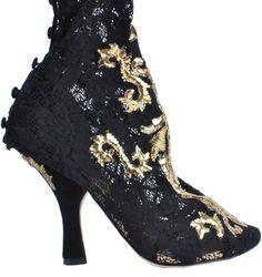 DOLCE & GABBANA RUNWAY Barock Gold Pumps Schuhe Schwarz Baroque Black 02935
