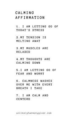 Our list of calming affirmations to help you relax. Perfect for the evenings bef. - Our list of calming affirmations to help you relax. Perfect for the evenings bef… Our list of c - Positive Affirmations Quotes, Self Love Affirmations, Affirmation Quotes, Positive Quotes, Healing Affirmations, Affirmations For Anxiety, Morning Affirmations, Law Of Attraction Affirmations, Meditation Mantra