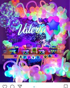 A imagem pode conter: texto Neon Birthday, 13th Birthday Parties, Birthday Party For Teens, 14th Birthday, Sleepover Party, Dance Party Birthday, Sleepover Activities, Spa Party, Glow In Dark Party