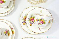 Royal Stuart Floral & Gold Trio Tea set. by FlyingSquirrelNest