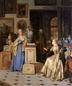 At the Antiquarian's (1880). Jean Carolus (Belgian, 1814-1897). Oil on canvas. Carolus portrayed elegantly attired aristocrats often engaged in pursuits of a leisurely nature. He focused primarily of representations of people in the 18th century; French interiors and garden scenes. His style characteristically combines a luminous color palette with the expressive grace and elegance of his meticulously rendered figures.