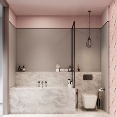 A Luxurious Home Interior with Pretty, Muted Pastel Colors While we may often think of pastel colors as appropriate for nurseries or children's rooms, the truth is they can take on a much more mature feel in the hands o - Marble Bathroom Dreams Bad Inspiration, Bathroom Inspiration, Grey Bathrooms, Small Bathroom, Bathroom Marble, Bathroom Spa, Marble Wall, Marble Shelf, Mermaid Bathroom