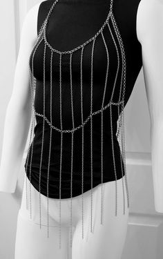 Fringe Body Chain Armor Silver Chains by crystalelements1 on Etsy