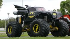batmobile monster truck - If Batman had access to this Batmobile monster truck, I think his first order of business would be to drive over the existing Batmobile and crush i. Jacked Up Trucks, Cool Trucks, Big Trucks, Cool Cars, Chevy Trucks, Monster Trucks, Monster Jam, Combi Wv, Nananana Batman