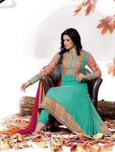 Women beauty is magnified tenfold in this alluring aqua blue faux georgette salwar kameez. @ $92.47 <3 Buy Now - http://www.gravity-fashion.com/9715-alluring-aqua-blue-salwar-kameez.html <3
