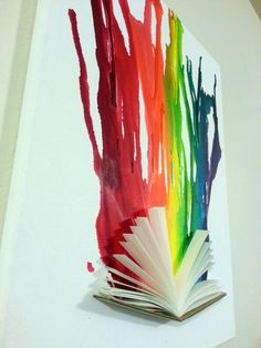 Original Melted Crayon Art 3D with Book. $145.00, via Etsy.   I want to do this with Alice in Wonderland!
