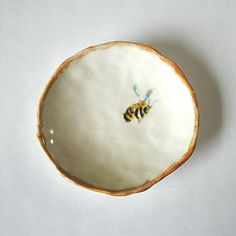 Hand crafted porcelain bee dish by YesterNow on Etsy