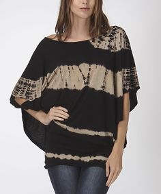 Black  Beige Tie-Dye Stripe Cape-Sleeve Top | zulily