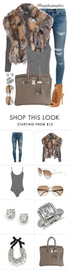 """New York Babe"" by highfashionfiles ❤ liked on Polyvore featuring Yves Saint Laurent, Miu Miu, WearAll, Givenchy, Saks Fifth Avenue, Blue Nile, Oscar de la Renta, Hermès, Christian Louboutin and women's clothing"