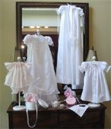 """A Tripp in Time"" by Carole Tripp specializes in sewing beautiful Christening gowns, bonnets, booties, wedding dress conversions, and more.  You will be blow away by Carole's exquisite work and detail.  See more at http://www.atrippintime.com/"