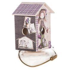 Lámpara Infantil CASITAS en madera para decorar de ARTESANIAS MONTEJO Con los papeles de #arteyscrap