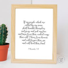 If my people, which are called by my name, shall humble. 2 Chronicles 7:14 KJV, Bible Verse, Wall Art Decor, Digital Print by FaithArtShoppe Wall Art Decor, Wall Art Prints, Bible Verses, Niv Bible, Wicked Ways, Mug Printing, My Name Is, Printed Materials, My People