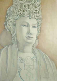 Goh Ee Choo, Buddha of Compassion 2004 color pencil on A2 paper