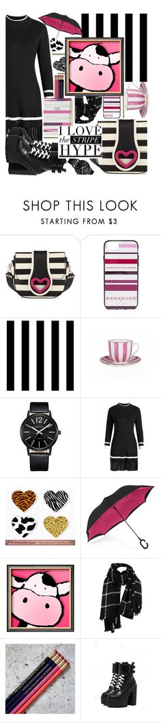 """""""Black with touch of rose and gold,the look is fab and bold!"""" by jelena-bozovic-1 on Polyvore featuring Betsey Johnson, Kate Spade, Tempaper and ShedRain"""
