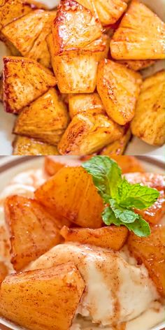 Try this simple, yet scrumptious Cinnamon Fried Pineapple. It requires just a few common ingredients and only 10 minutes of your time. Pineapple Recipes Video, Fried Pineapple Recipe, Fruit Recipes, Indian Food Recipes, Dessert Recipes, Cooking Recipes, Ethnic Recipes, Ark Recipes, Flour Recipes