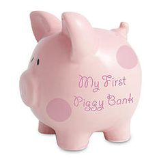 Pink Polka Dot First Piggy Money Box - Start saving from birth!  Blue Pig also available